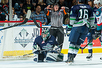 KELOWNA, CANADA - APRIL 25: Carl Stankowski #1 of the Seattle Thunderbirds stands on the ice against the Kelowna Rockets on April 25, 2017 at Prospera Place in Kelowna, British Columbia, Canada.  (Photo by Marissa Baecker/Shoot the Breeze)  *** Local Caption ***