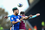 Ryan Shotton of Birmingham City (left) heads under pressure from Ross McCormack of Aston Villa during the Sky Bet Championship match at St Andrews, Birmingham<br /> Picture by Andy Kearns/Focus Images Ltd 0781 864 4264<br /> 30/10/2016