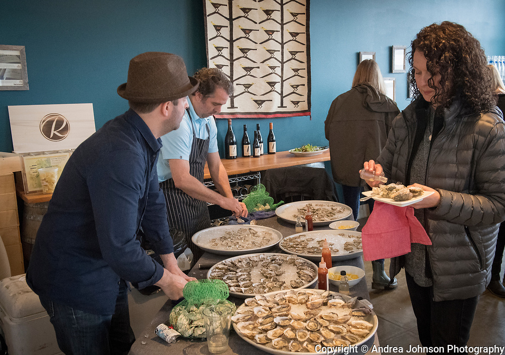 Ethan and Tobias of EaT: An Oyster Bar at Raptor Ridge Grüner Veltliner and oyster pairing club event, Chehalem Mountains AVA, Willamette Valley, Oregon