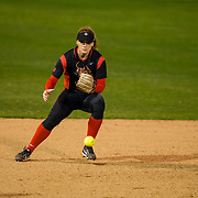 02 March 2018: San Diego State softball closes out day two of the San Diego Classic I at Aztec Softball Stadium with a night cap against CSU Northridge. San Diego State shortstop Shelby Thompson (20) fields a ground ball in the first inning against CSU Northridge. The Aztecs dropped a close game 2-0 to the Matadors. <br /> More game action at sdsuaztecphotos.com