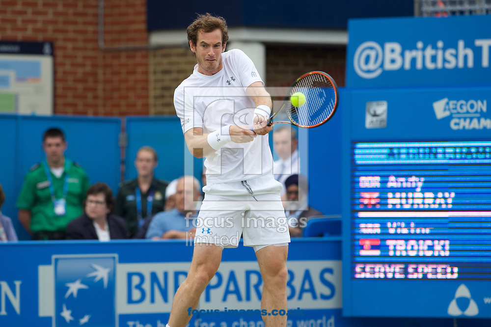 Andy Murray of Great Britain plays a backhand during his semi-final final match against Viktor Troicki of Serbia in Aegon Championships at the Queen's Club, West Kensington<br /> Picture by Alan Stanford/Focus Images Ltd +44 7915 056117<br /> 20/06/2015