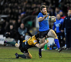 Gordon D'Arcy (Leinster) goes on the attack - Photo mandatory by-line: Patrick Khachfe/JMP - Tel: Mobile: 07966 386802 07/12/2013 - SPORT - RUGBY UNION -  Franklin's Gardens, Northampton - Northampton Saints v Leinster - Heineken Cup.