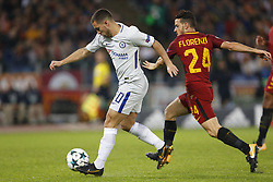 October 31, 2017 - Rome, Italy - Rome, Italy - 31/10/2017..(L-R) Eden Hazard of Chelsea in duel with Alessandro Florenzi of Roma during the UEFA Champions League Group C soccer match at the Olympic stadium in Rome..UEFA Champions League Group C soccer match between AS Roma and Chelsea FC at the Olympic stadium in Rome. AS Roma defeating Chelsea FC 3-0. (Credit Image: © Giampiero Sposito/Pacific Press via ZUMA Wire)