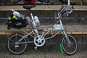 The Moulton Bicycle, using rubber suspension and small wheels. Alex Moulton Bicycles is based in Bradford-on-Avon, Wiltshire, England - France