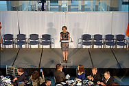 Garden City, New York, U.S. June 6, 2019. Nassau County Executive LAURA GILLEN is speaking on stage below, as seen from second level of atrium of Cradle of Aviation Museum, during Apollo at 50 Anniversary Dinner, an Apollo astronaut tribute celebrating the Apollo 11 mission Moon landing.