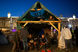© Licensed to London News Pictures. 08/10/2019. London, UK. Extinction Rebellion construct a wooden structure in Trafalgar Square . Police continue to attempt to clear roads in Westminster on the second day of the protest . Photo credit: George Cracknell Wright/LNP