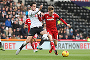 Cardiff City midfielder Joe Ralls on the ball during the Sky Bet Championship match between Derby County and Cardiff City at the iPro Stadium, Derby, England on 21 November 2015. Photo by Aaron Lupton.
