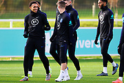 England defender Trent Alexander-Arnold laughs with midfielder Mason Mount during the England football team training session at St George's Park National Football Centre, Burton-Upon-Trent, United Kingdom on 13 November 2019.