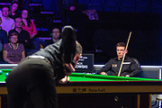 Jack Lisowski looks on as Mark Selby visits the table during the first session of the World Snooker 19.com Scottish  Open Final Mark Selby vs Jack Lisowski at the Emirates Arena, Glasgow, Scotland on 15 December 2019.