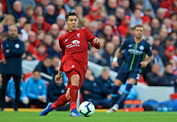 LIVERPOOL, ENGLAND - Sunday, October 7, 2018: Liverpool's Roberto Firmino during the FA Premier League match between Liverpool FC and Manchester City FC at Anfield. (Pic by David Rawcliffe/Propaganda)