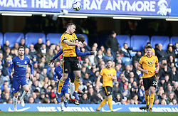 Diogo Jota of Wolverhampton Wanderers and N'Golo Kante of Chelsea challenge for a  header - Mandatory by-line: Arron Gent/JMP - 10/03/2019 - FOOTBALL - Stamford Bridge - London, England - Chelsea v Wolverhampton Wanderers - Premier League
