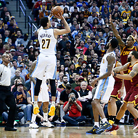 22 March 2017: Denver Nuggets guard Jamal Murray (27) takes a jump shot during the Denver Nuggets 126-113 victory over the Cleveland Cavaliers, at the Pepsi Center, Denver, Colorado, USA.