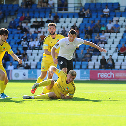 TELFORD COPYRIGHT MIKE SHERIDAN CHANCE. Aaron Williams of Telford fires wide during the National League North fixture between AFC Telford United and Nantwich Town on Saturday, September 21, 2019.<br /> <br /> Picture credit: Mike Sheridan<br /> <br /> MS201920-020