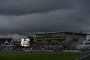 Grey clouds and deteriorating light at New Road during the NatWest T20 Blast Quarter Final match between Worcestershire County Cricket Club and Hampshire County Cricket Club at New Road, Worcester, United Kingdom on 14 August 2015. Photo by David Vokes.