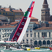 Venice 10th May 2012 America's Cup  World series . Teams test their boats  in St Mark's basin..HOW TO LICENCE THIS PICTURE: please contact us via e-mail at sales@xianpix.com or call our offices in Venice at (+39) 41963 7374 or London +44 (0)207 1939846 for prices and terms of copyright. First Use Only ,Editorial Use Only, All repros payable, No Archiving.© MARCO SECCHI