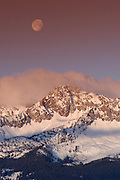 Sawtooth Mountains- Sunrise and the moon over Mt. Williams in the Sawtooth National Recreation Area.