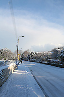Snow covered streets in Killiney Dublin Ireland during the cold snap in November 2010