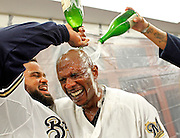 brewers08, spt, lynn, 28.-Nyger Morgan gets champaign dump on him after he hit a walk off single by Prince Fielder. The Milwaukee Brewers defeated the Arizona Diamondbacks 3-2 at Miller Park Friday October 7, 2011 and advance to the NLCS. TLYNN@JOURNALSENTINEL.COM
