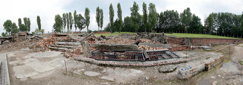 A panorama of a destroyed crematorium in Auschwitz-Birkenau Concentration Camp in Poland on Tuesday July 5th 2011.  (Photo by Brian Garfinkel)