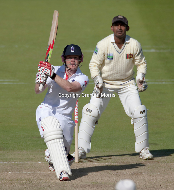 Eoin Morgan drives Tillakaratne Dilshan for six during the second npower Test Match between England and Sri Lanka at Lord's.  Photo: Graham Morris (Tel: +44(0)20 8969 4192 Email: sales@cricketpix.com) 03/06/11