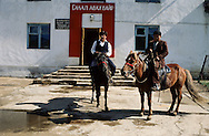 Mongolia. Election day   Gatchurt kolkhoz.  The people live more than 60 kilometers from the kolkhoz, and come from their  - ger -  on horseback.