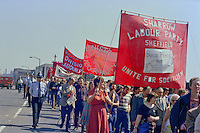 Labour Party banners at the start of a march against anti trade union legislation. Sheffield 1980.