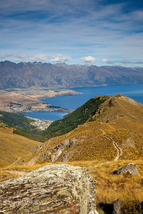 The hike to Ben Lemond Peak above Lake Wakatipu and Queenstown on New Zealand's South Island offers spectacular views of the Southern Alps.
