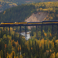 Train trestle outside the train station in Denali National Park Alaska.