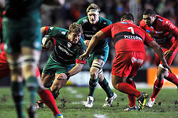 Tom Youngs of Leicester Tigers in possession - Photo mandatory by-line: Patrick Khachfe/JMP - Mobile: 07966 386802 07/12/2014 - SPORT - RUGBY UNION - Leicester - Welford Road - Leicester Tigers v Toulon - European Rugby Champions Cup