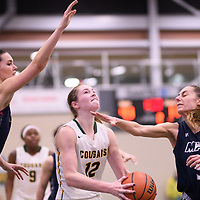 4th year forward Christina McCusker (12) of the Regina Cougars during the Women's Basketball home game on January 5 at Centre for Kinesiology, Health and Sport. Credit: Arthur Ward/Arthur Images