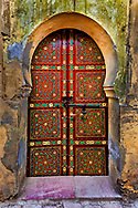 Red designed doorway, Fez, Morocco