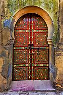 Red designed doorway, Fez, Morocco