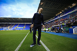 22 August 2017 -  EFL Cup Round Two - Reading v Millwall - Jaap Stam manager of Reading kicks a bottle away from his technical area - Photo: Marc Atkins/Offside