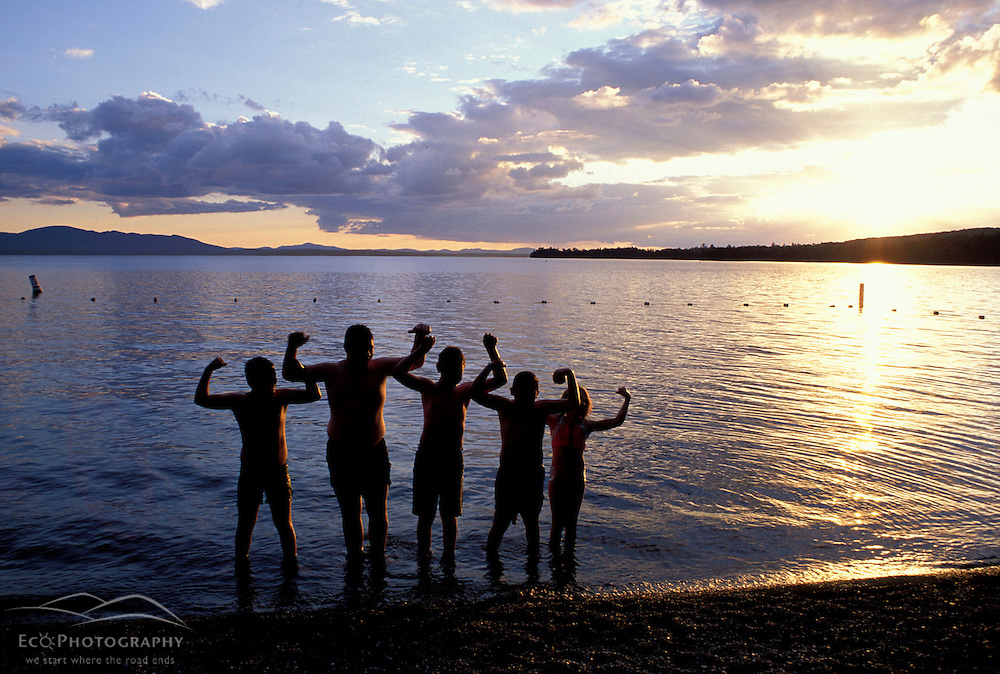 Greenville, Maine. Northern Forest. Tourism. Swimmers having fun at Lily Bay State Park.