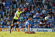 Peterborough United Midfielder, Danny Lloyd (10) has a shot blocked by Portsmouth Defender, Matt Clarke (5) during the EFL Sky Bet League 1 match between Portsmouth and Peterborough United at Fratton Park, Portsmouth, England on 5 May 2018. Picture by Adam Rivers.