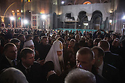 Crowds inside of the under-construction Sv Sava cathedral as the Russian Patriarch (to be confirmed TK) departs after the ceremony.<br /> <br /> Joint liturgy with Serbian Orthodox and Russian Orthodox patriarchs in Sveti Sava cathedral. Belgrade, Serbia.