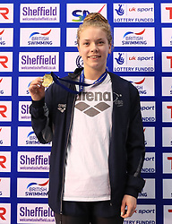 The medal ceremony for the women's 50m freestyle, gold medalist Anna Hopkin during day three of the 2017 British Swimming Championships at Ponds Forge, Sheffield. PRESS ASSOCIATION Photo. Picture date: Thursday April 20, 2017. See PA story SWIMMING Sheffield. Photo credit should read: Tim Goode/PA Wire