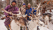 Tsaatan reindeer herders, winter camp, Hunkher mountains, northern Mongolia