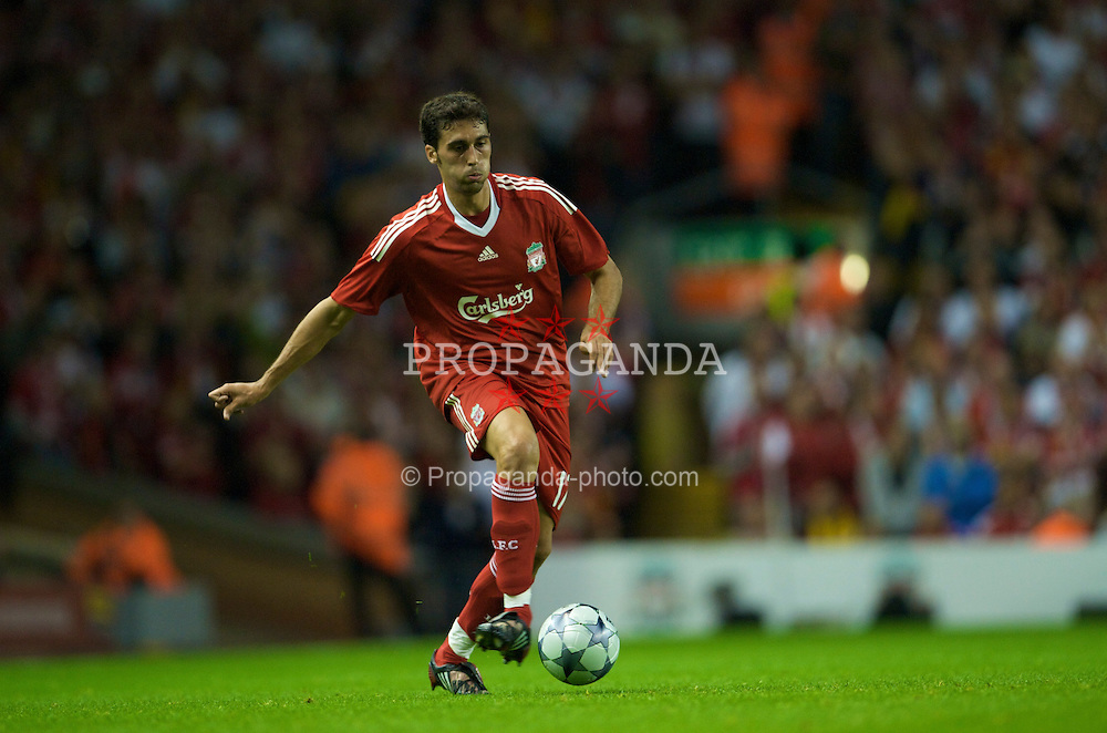 LIVERPOOL, ENGLAND - Wednesday, August 27, 2008: Liverpool's Alvaro Arbeloa in action against Royal Standard de Liege during the UEFA Champions League 3rd Qualifying Round 2nd Leg match at Anfield. (Photo by David Rawcliffe/Propaganda)