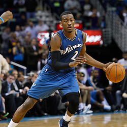 February 1, 2011; New Orleans, LA, USA; Washington Wizards point guard John Wall (2) against the New Orleans Hornets during the fourth quarter at the New Orleans Arena. The Hornets defeated the Wizards 97-89.  Mandatory Credit: Derick E. Hingle