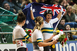 March 2, 2019 - Pruszkow, Poland - Ashlee Ankudinoff of Australia celebrates winning the gold medal in the Women's individual pursuit race on day four of the UCI Track Cycling World Championships held in the BGZ BNP Paribas Velodrome Arena on March 02 2019 in Pruszkow, Poland. (Credit Image: © Foto Olimpik/NurPhoto via ZUMA Press)