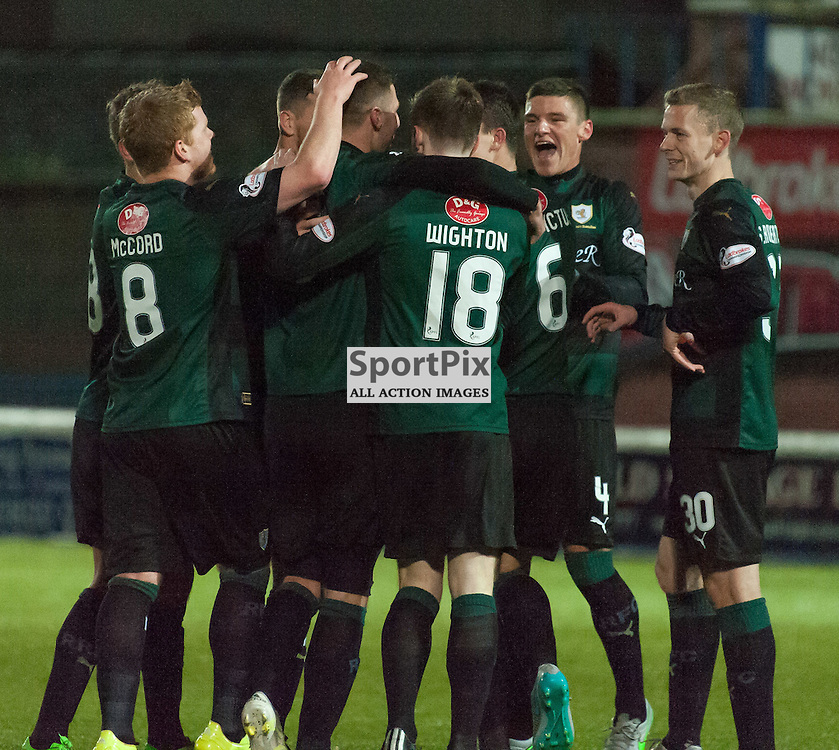Raith Rovers celebrations<br /> <br /> Queen of the South v Raith Rovers &bull; SPFL Championship &bull; 11 December 2015<br /> <br /> &copy; Russel Hutcheson | SportPix.org.uk