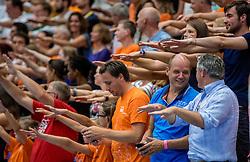 28-08-2016 NED: Nederland - Slowakije, Nieuwegein<br /> Het Nederlands team heeft de oefencampagne tegen Slowakije met een derde overwinning op rij afgesloten. In een uitverkocht Sportcomplex Merwestein won Nederland met 3-0 van Slowakije / support publiek Oranje Arno de Kloet, Peter Sprenger