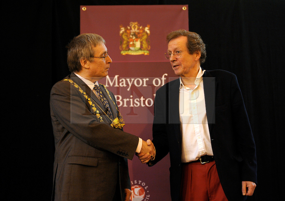 © Licensed to London News Pictures. 19/11/2012. Bristol, UK. left-right: Peter Main Lord Mayor of Bristol, George Ferguson elected Mayor of Bristol.  George Ferguson, the first elected Mayor of Bristol is sworn in and makes a speech at The Passenger Shed at Bristol Temple Meads station designed by Isambard Kingdom Brunel.  One of his first actions as mayor was to abolish Sunday street parking charges. 19 November 2012..Photo credit : Simon Chapman/LNP