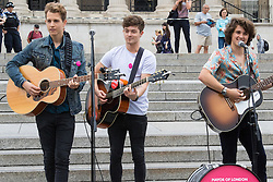 Trafalgar Square, London, July 22nd 2016. International Busking Day is launched in London by Mayor Sadiq Khan together with Jessie Ware, Tinchy Strider, Irish band Keywest and The Vamps. PICTURED: The Vamps perform on the steps of Trafalgar Square.<br /> <br /> &copy;Paul Davey<br /> FOR LICENCING CONTACT: Paul Davey +44 (0) 7966 016 296 or 020 8969 6875 paul@pauldaveycreative.co.uk
