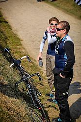 St-Hillare-lez-Cambrai, France - Paris-Roubaix - April 7, 2013 - Team member of IAM waiting
