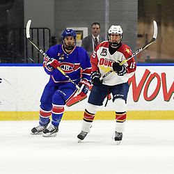 BUFFALO, NY - SEP 20,  2017: Ontario Junior Hockey League Governors Showcase game between the Toronto Jr. Canadiens and Wellington Dukes, Andrew Rinaldi #15 of the Wellington Dukes and Nick Kiriakos #78 of the Toronto Jr. Canadiens pursue the play during the first period.<br /> (Photo by Andy Corneau / OJHL Images)