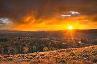 Stormy sunset from Scab Creek Trailhead. Bridger-Teton National Forest Sublette County, Wyoming