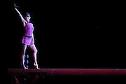 Sep 21, 2008; San Jose, CA, USA; Shannon Miller performs on the balance beam during the 2008 Tour of Gymnastics Superstars post-Beijing Olympic tour at HP Pavilion in San Jose, CA. Mandatory Credit: Kyle Terada-Terada Photo