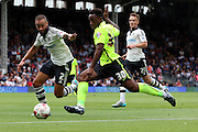 Kazenga LuaLua charging into the box during the Sky Bet Championship match between Fulham and Brighton and Hove Albion at Craven Cottage, London, England on 15 August 2015. Photo by Matthew Redman.